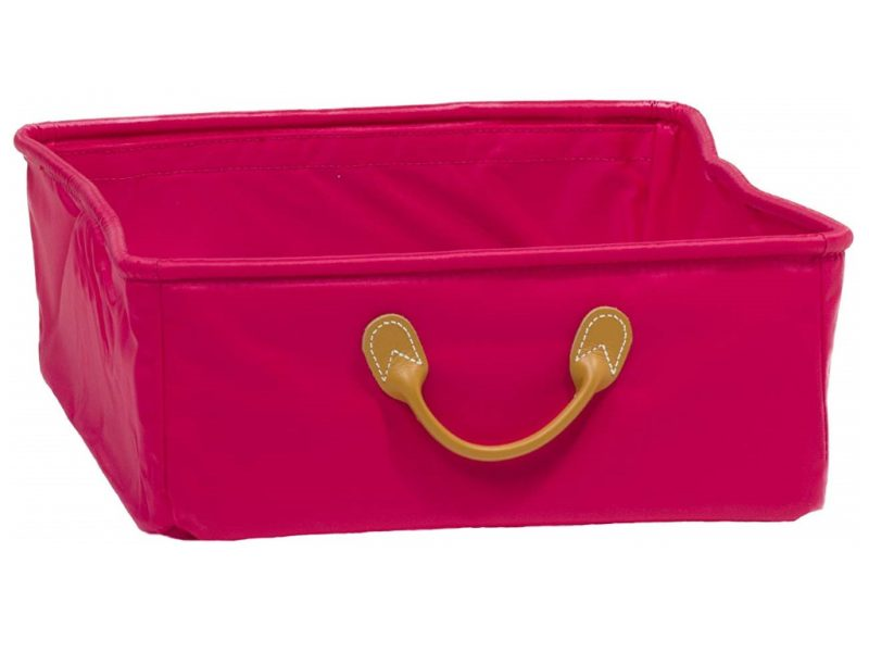 Pink canvas drawer with leather handle