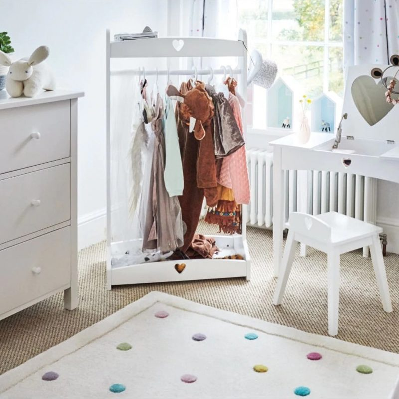 White painted clothes rail