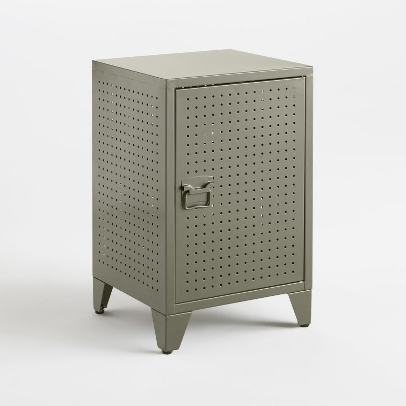 Khaki bedside locker with a perforated finish