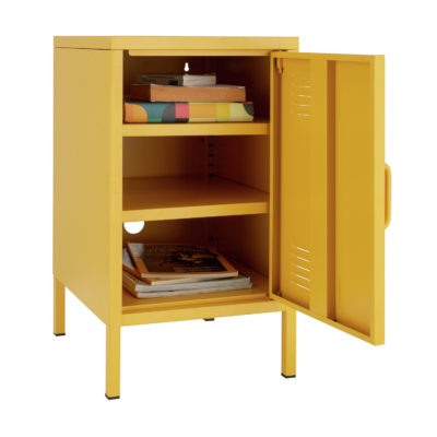 Yellow locker with 2 shelves