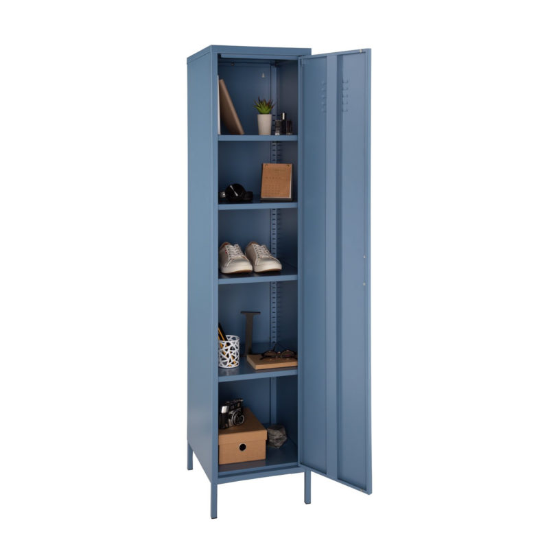 Tall blue metal locker