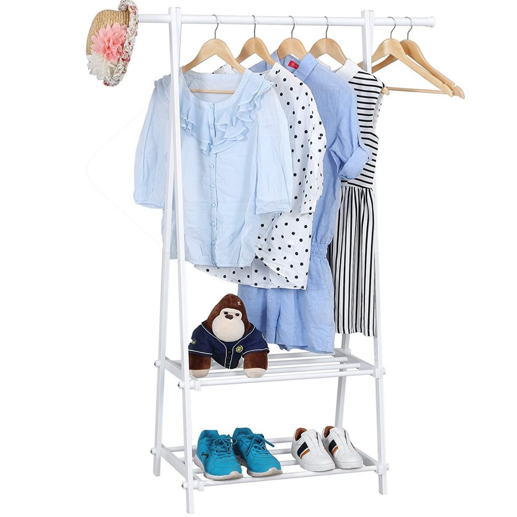 White clothes rail with 2 shelves