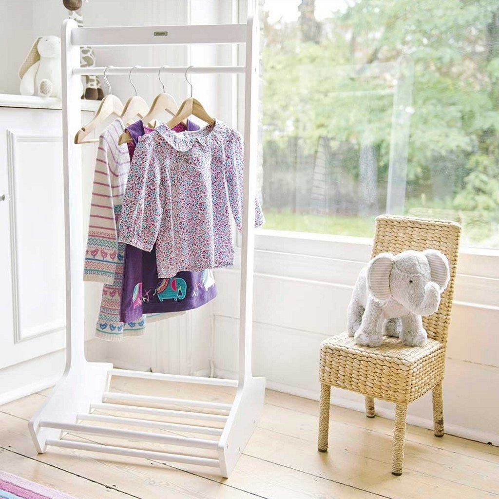 white clothes stand and shoe rack