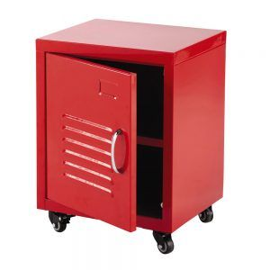 Red painted metal storage locker