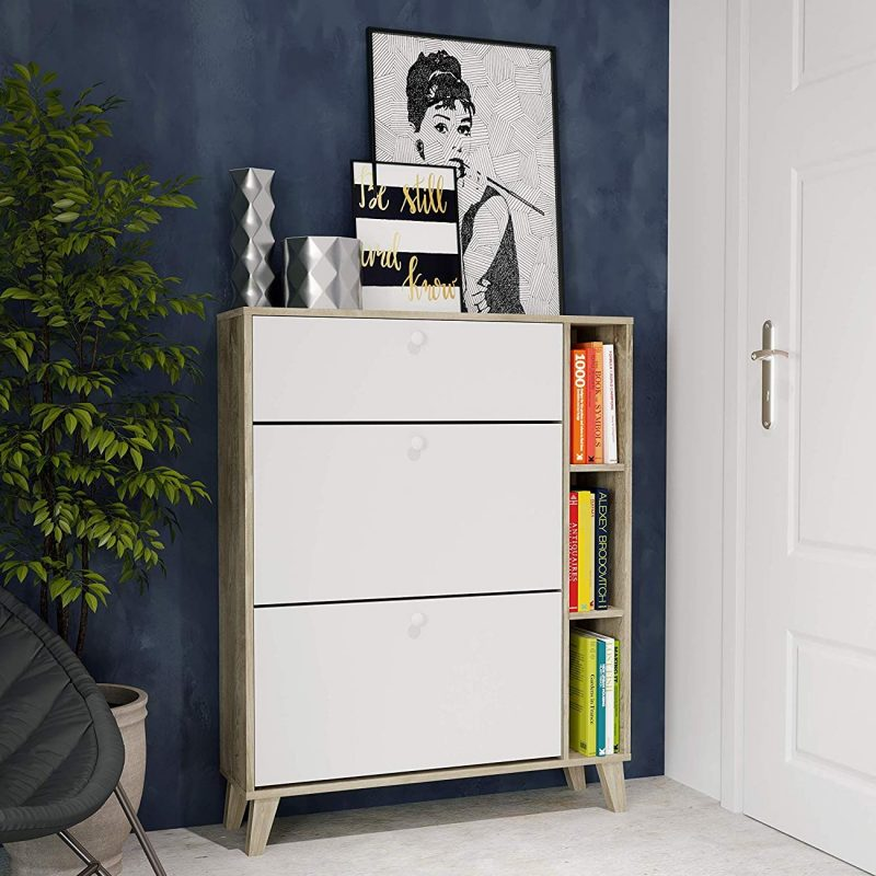 Contemporary shoe cabinet with drawer and bookshelves
