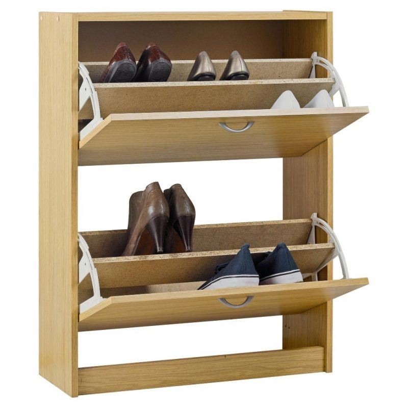 2 tier shoe cabinet with woodgrain finish