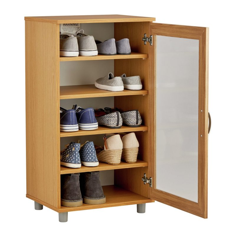 Glass fronted shoe cabinet with oak finish