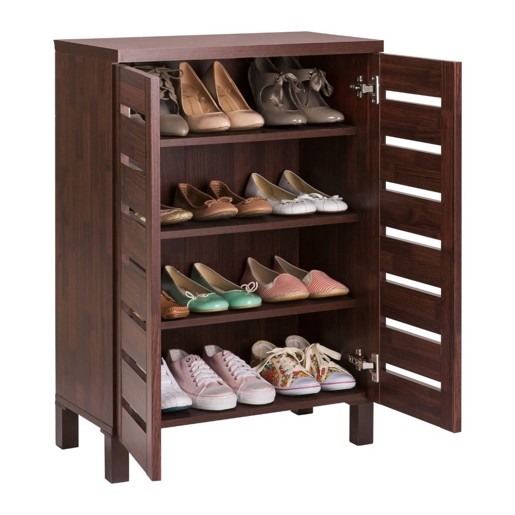 Mahogany effect shoe cupboard with slatted doors