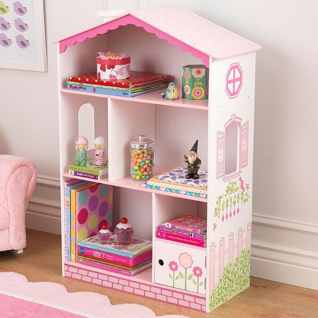 Pink and white doll's house style bookcase