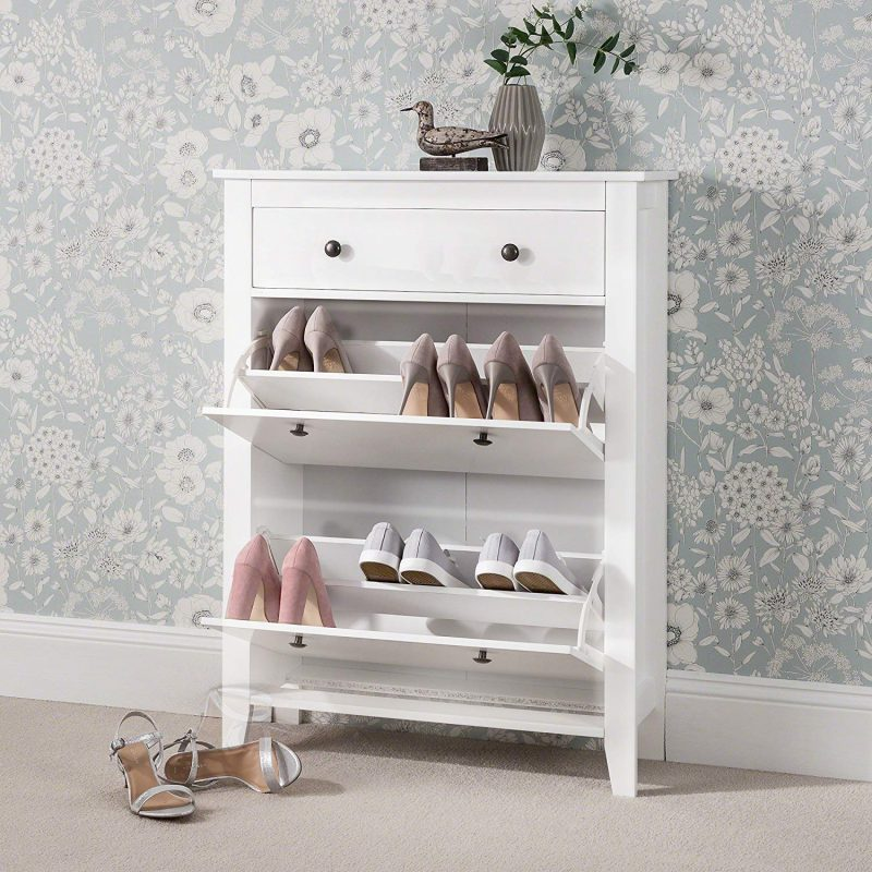 White-painted shoe cabinet