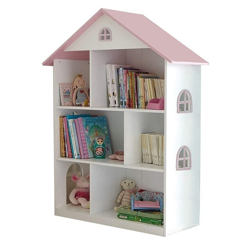 White and pink house-style bookcase