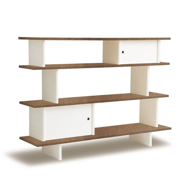 Kid's shelvine with walnut shelves and white supports