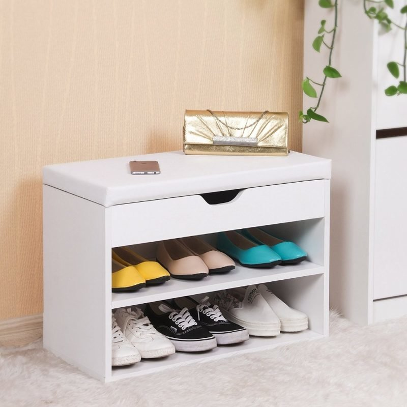 Shoe bench with padded seat and lift-up lid