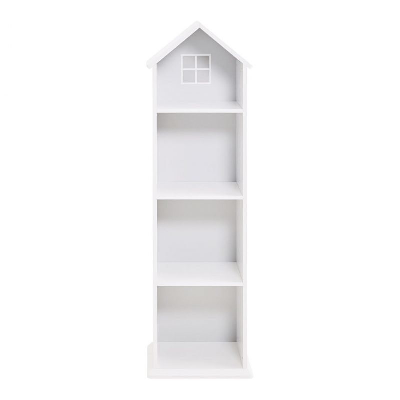 Tall white house shape bookcase