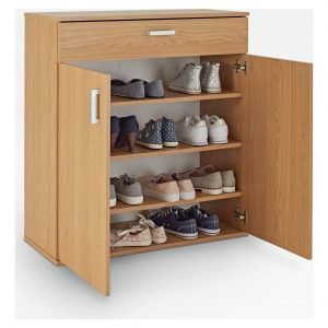 Oak effect shoe cupboard with silver handles