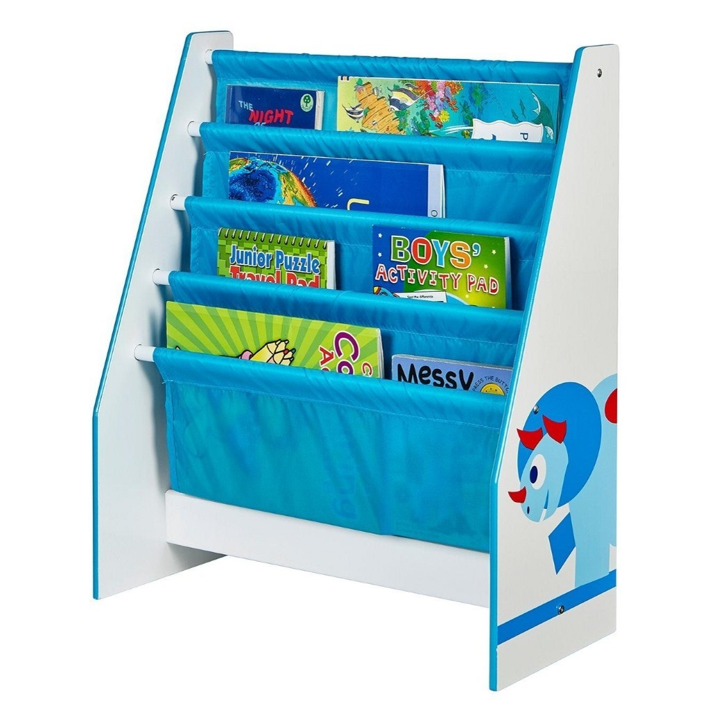 Blue and white sling bookcase