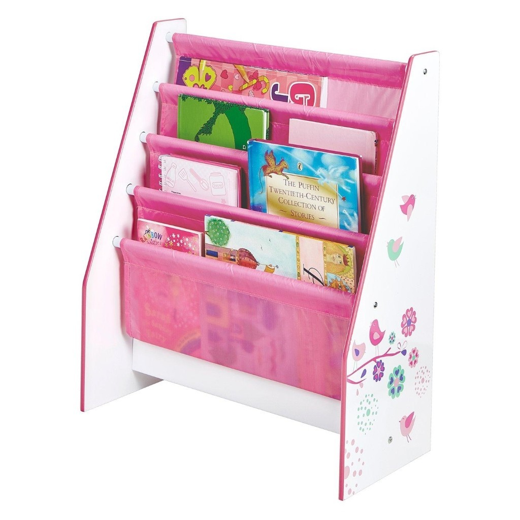 Pink and white sling bookcase