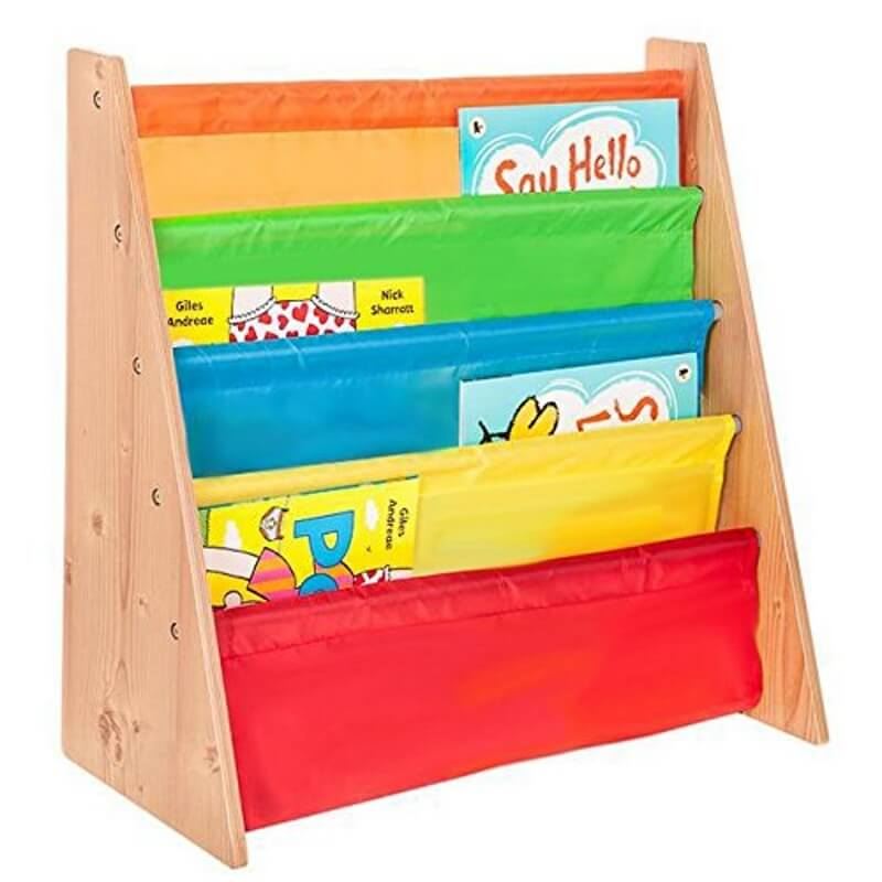 Kid's easy access bookshelf with primary colour slings