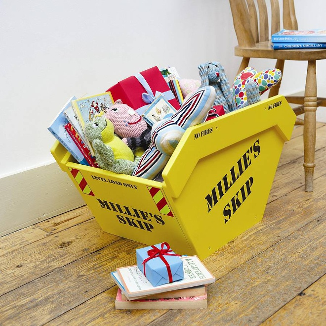 Yellow skip toy box