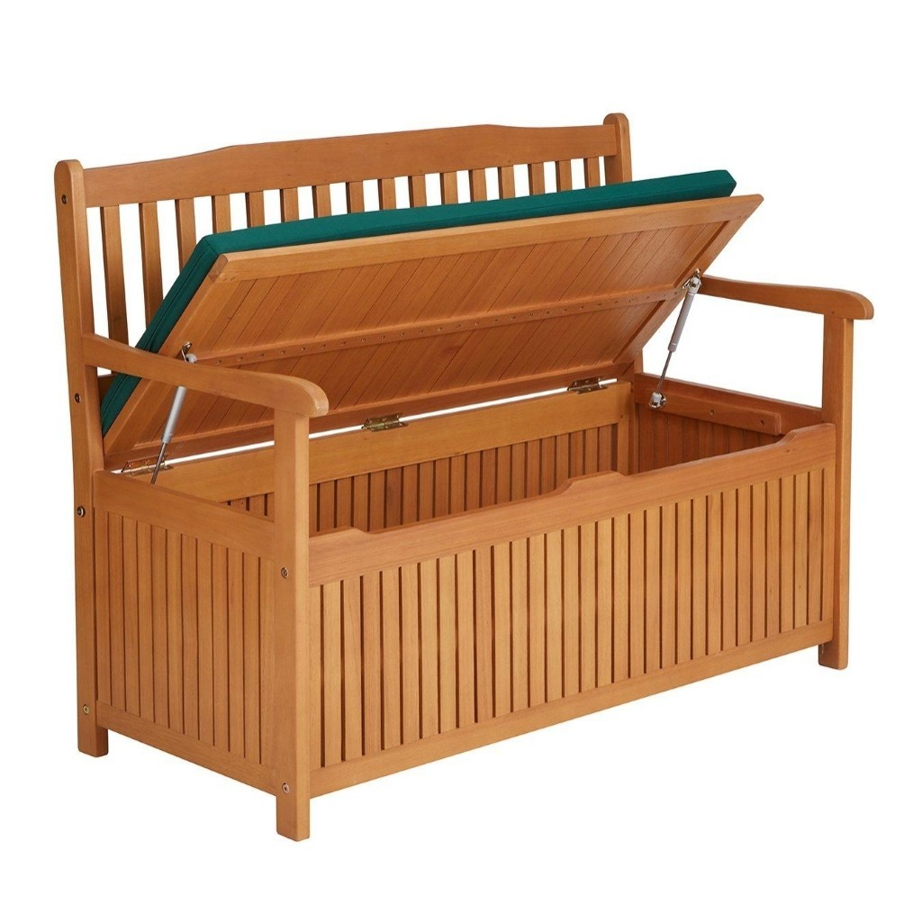 Garden storage bench with lift-up seat