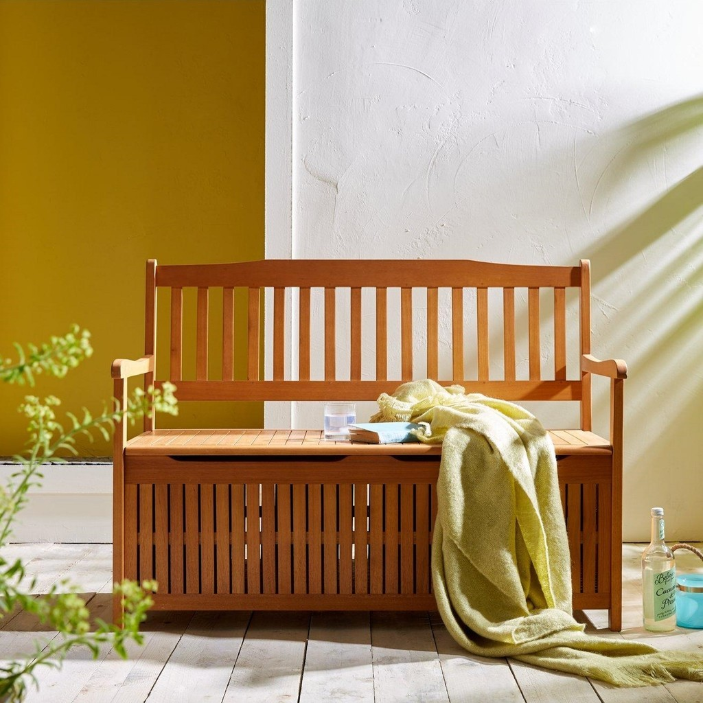 Teak coloured garden storage bench