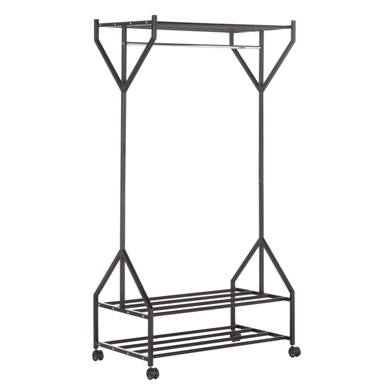 Clothes rail with top shelf and shoe rack
