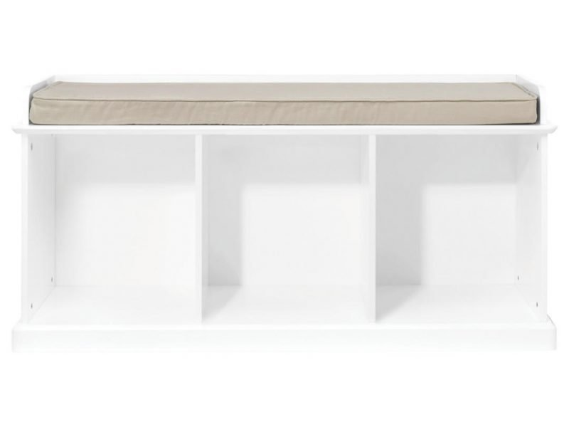 White bench with with compartments and cushion seat