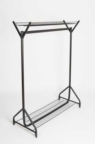 black metal clothes rail with top and bottom wire shelves