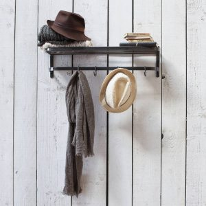 Metal luggage style shelf with hooks