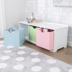 White storage bench with pastel coloured drawers