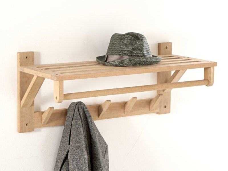 Solid oak shelf with coat pegs and hanging rail