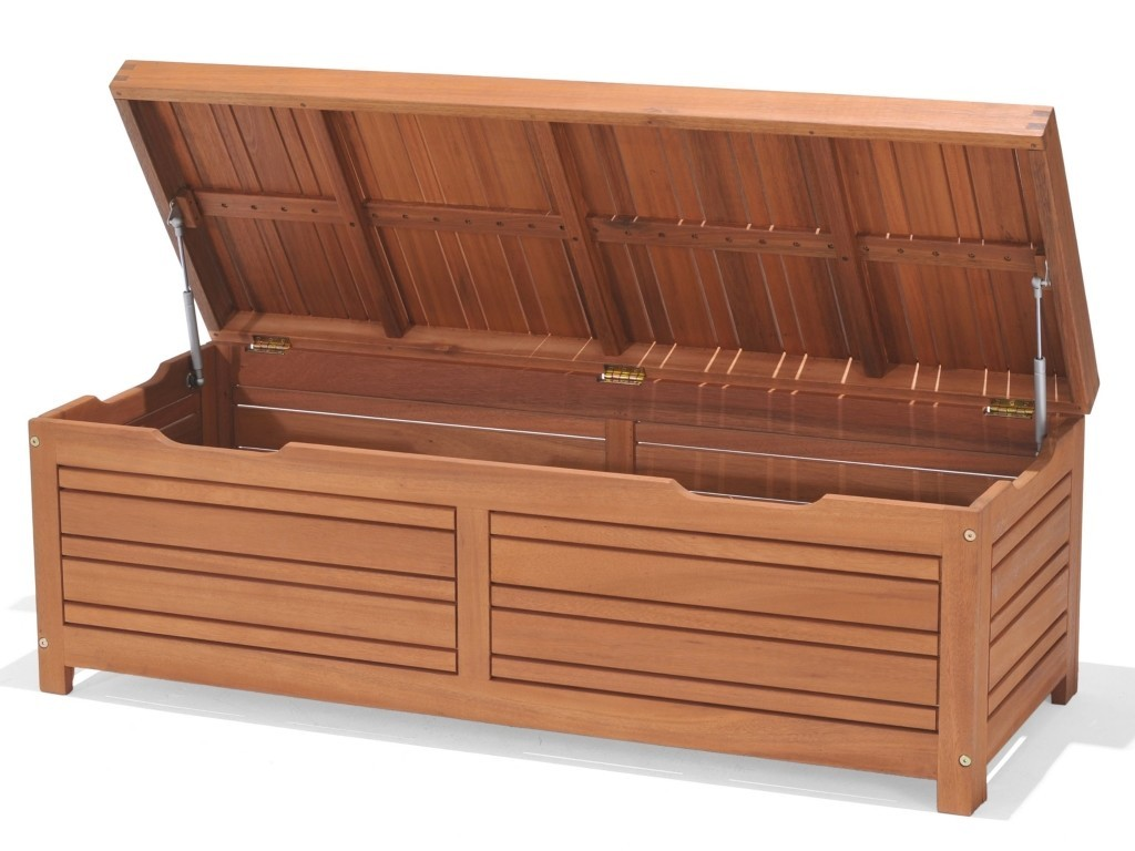 Outdoor storage bench with lift-up lid