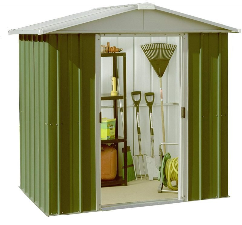 Metal shed with pitched roof
