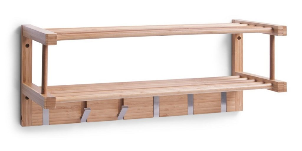 Bamboo coat rack with metal hooks and 2 shelves