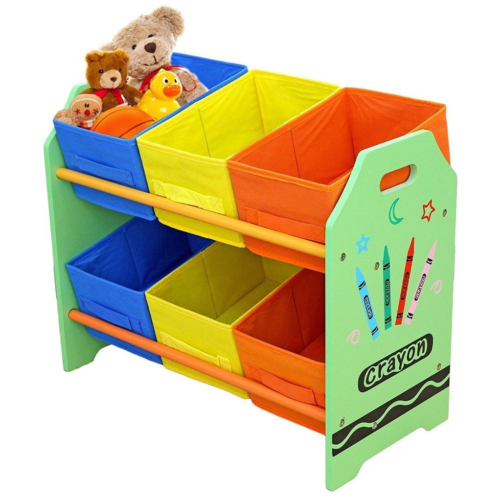 Crayon theme storage unit with green frame