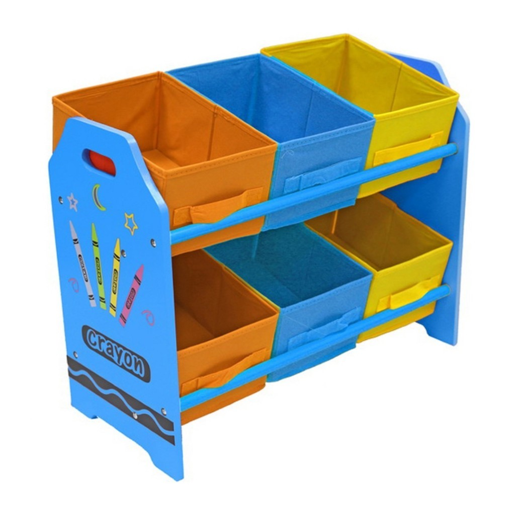 Crayon theme storage unit with blue frame