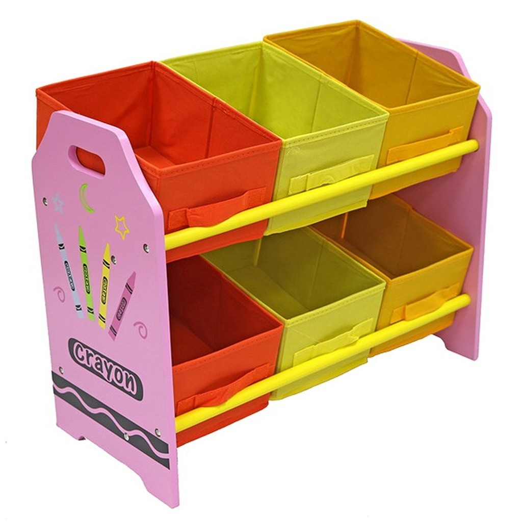 Crayon theme storage unit with pink frame