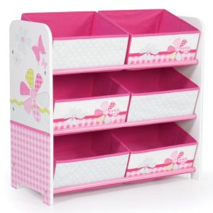 Pinka nd white storage unit with gingham pattern