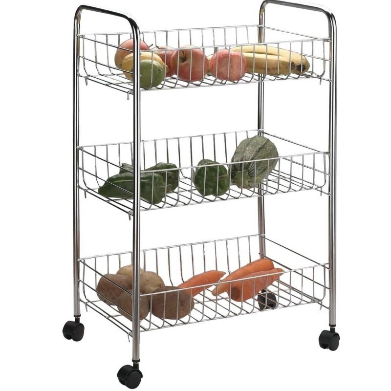 3-tier chrome wire trolley