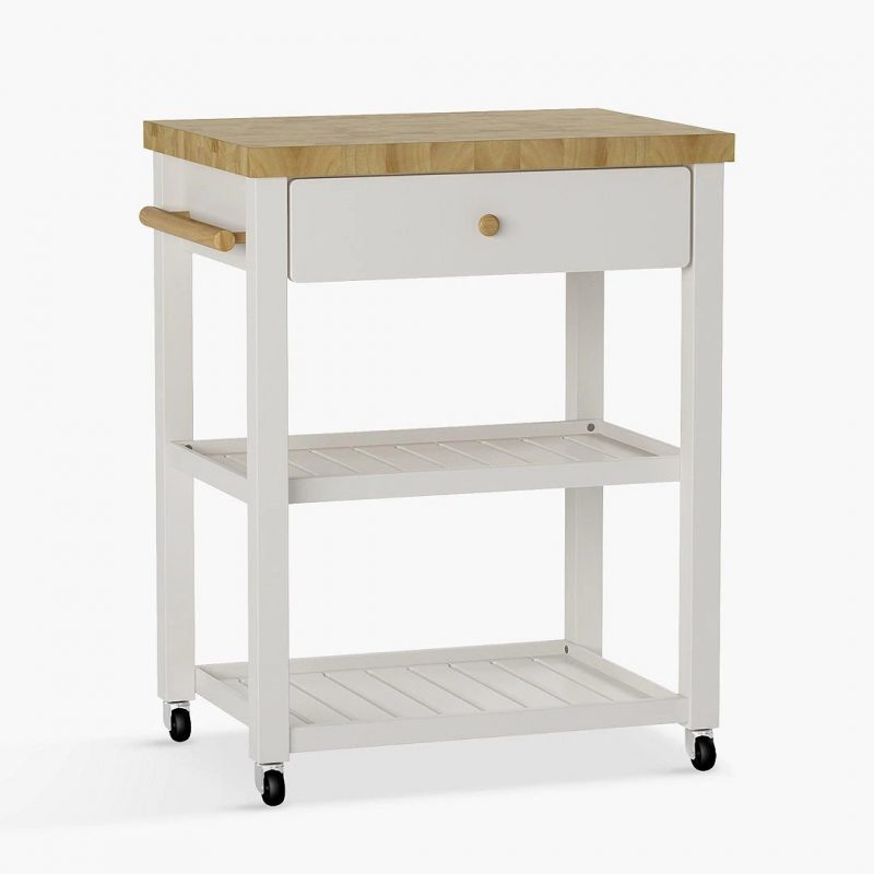 Light grey painted trolley with wooden top