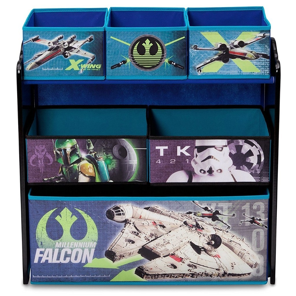 Star Wars themed storage bins in a black painted frame