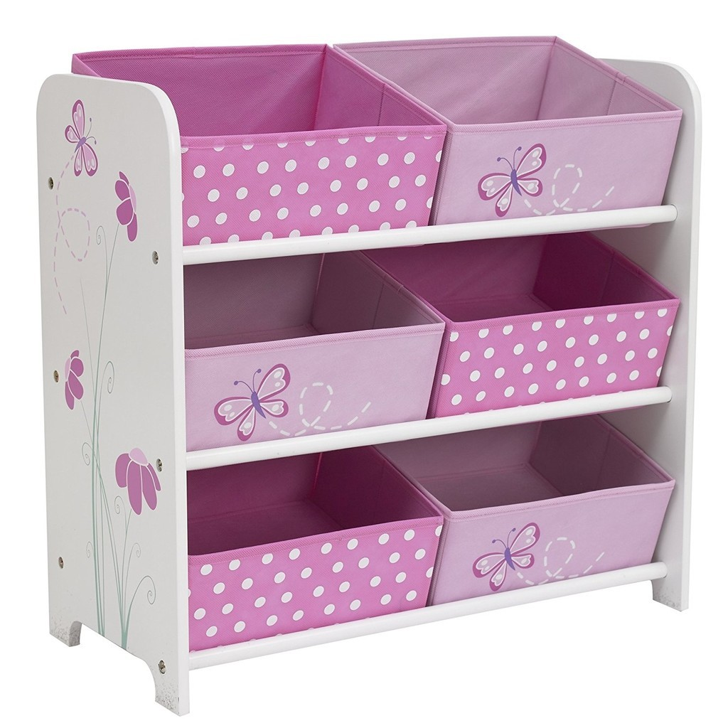 A white frame with butterfly graphics and 6 pink storage bins