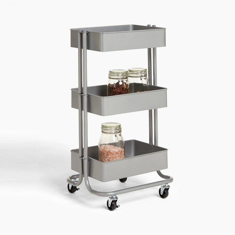Grey metal storage trolley