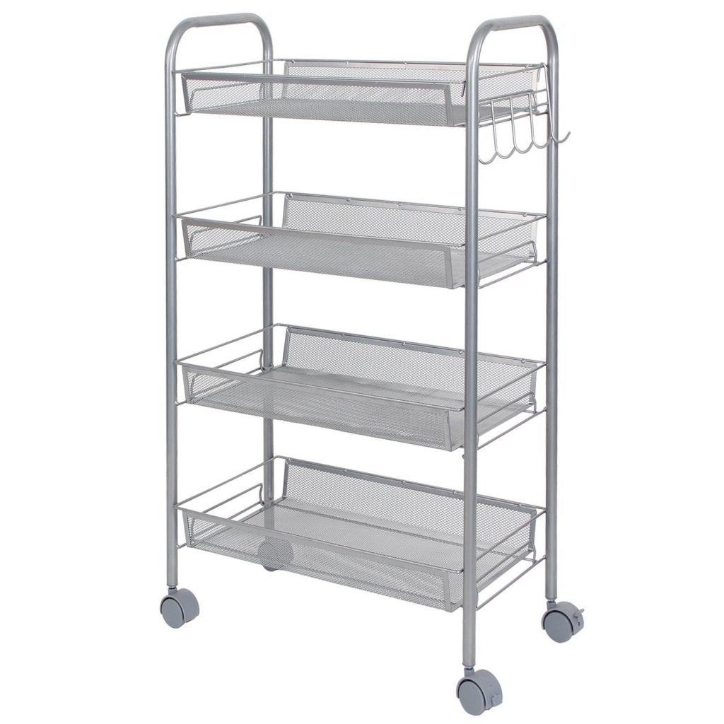 4-tier trolley with mesh shelves and hooks