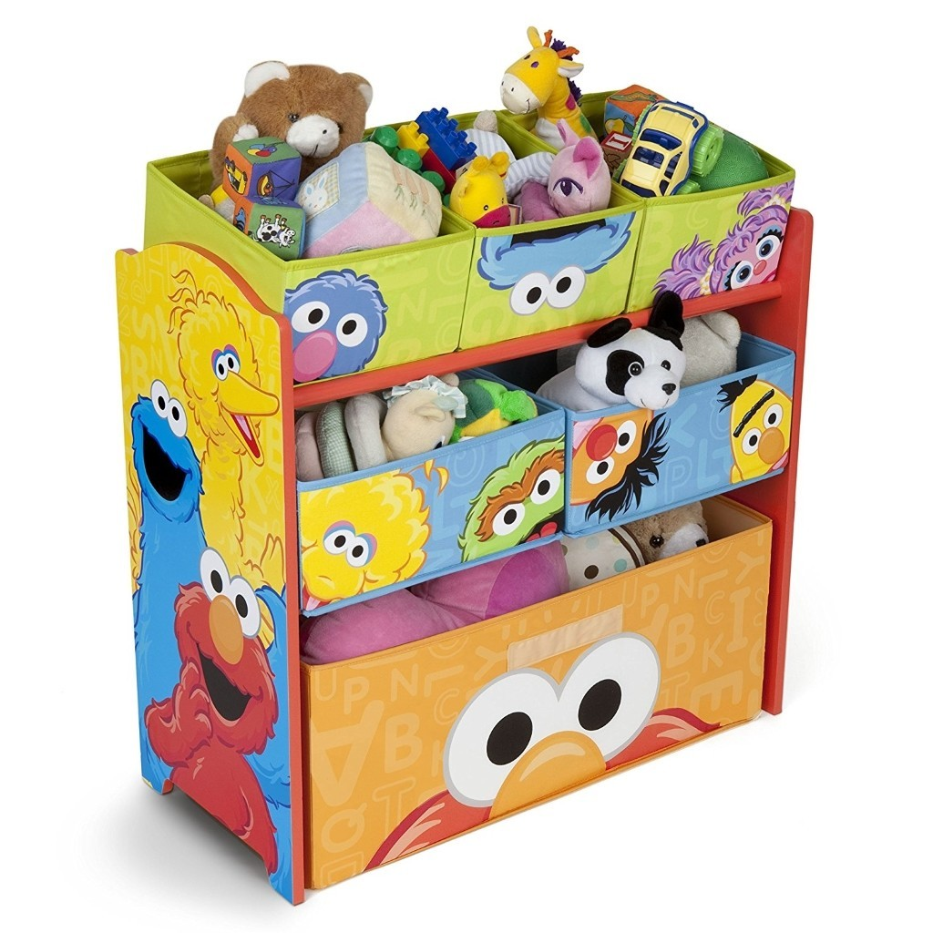 3 tier storage unit featuring prints of Sesame St characters