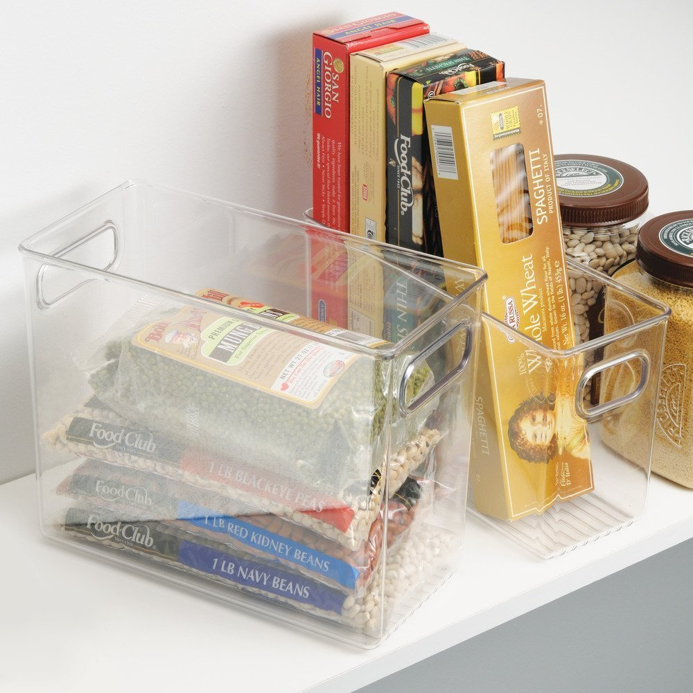 Tall, clear plastic storage bin