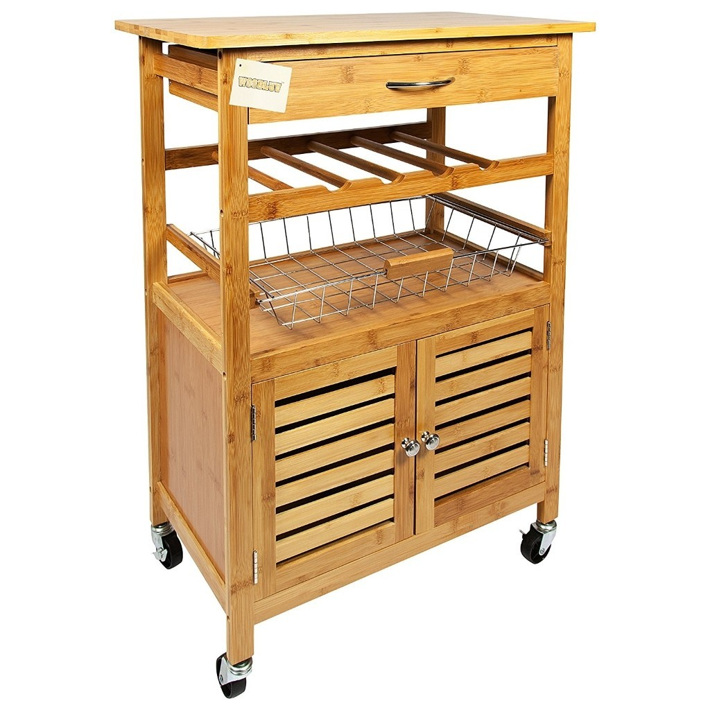 Wooden Storage Trolley Woodluv Bamboo Kitchen