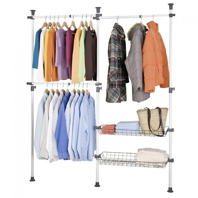Telescopic Clothes Storage with Rails and Baskets