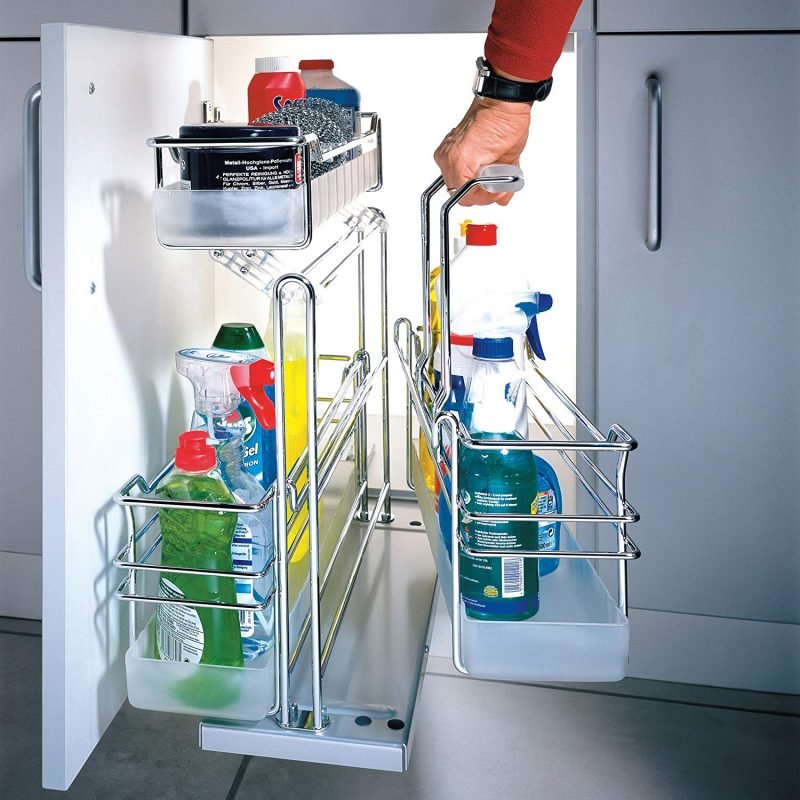 Chrome under-sink organiser