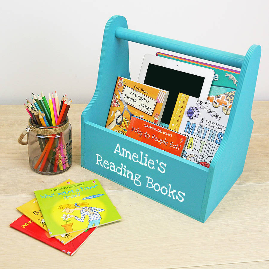 Hand held book storage caddy for kids
